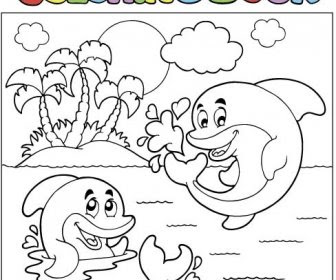 Coloring Picture Sea World Vector Template Vector Misc Free