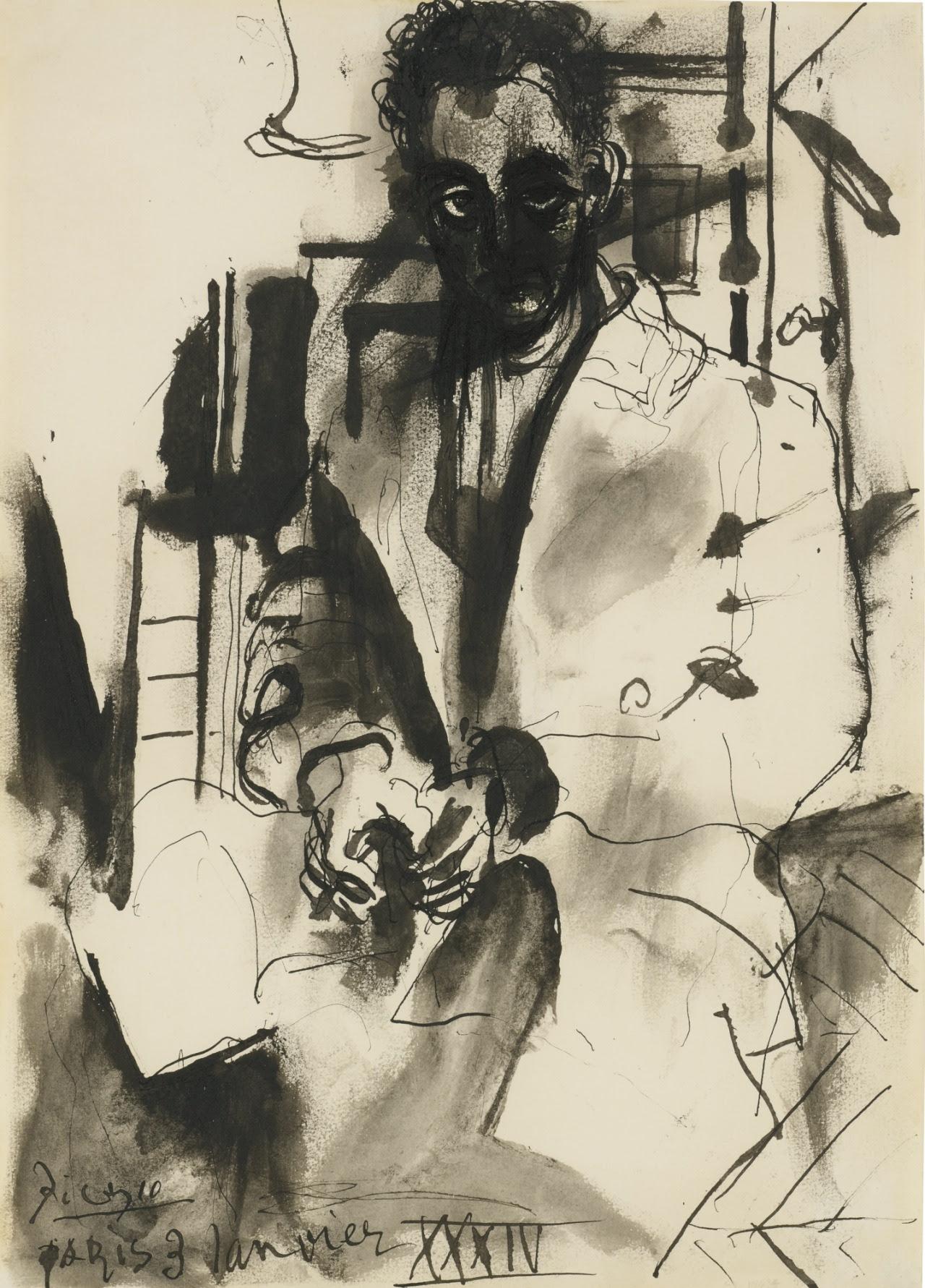 blastedheath:  Pablo Picasso (Spanish, 1881-1973), Portrait de Man Ray, January 3, 1934. Pen, brush and ink on paper, 35 x 24.7cm.