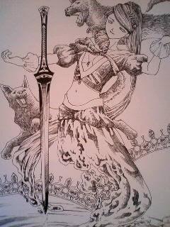 イラスト水妖の剣精ペン段階 青木心の原作イラスト集