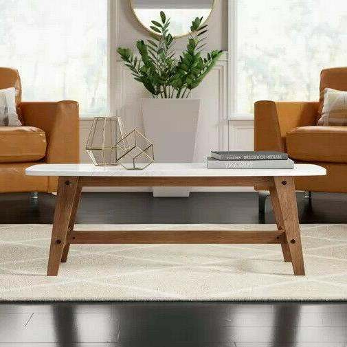 """Walker Edison Rectangle Coffee Table 49"""" with Wood"""