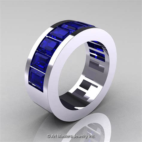 mens modern  white gold blue sapphire channel cluster