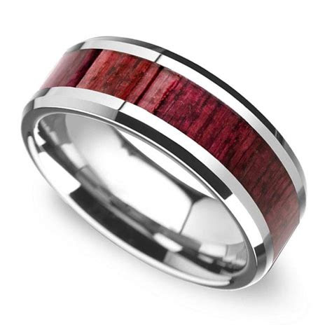 purpleheart wood inlay mens wedding ring  tungsten