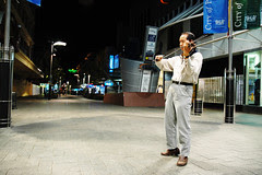 This violinist usually plays the violin at night by himself