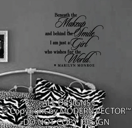 Marilyn Monroe Quote Vinyl Wall Decal Beneath The Makeup Vinyl ...