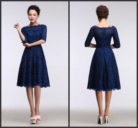 2016 Lace Royal Blue Evening Dresses Knee Length Real