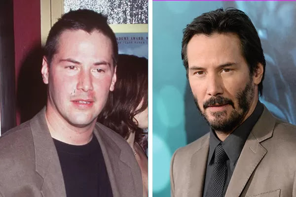 Keanu Reeves em 1996 e em 2014 (Foto: Getty Images)