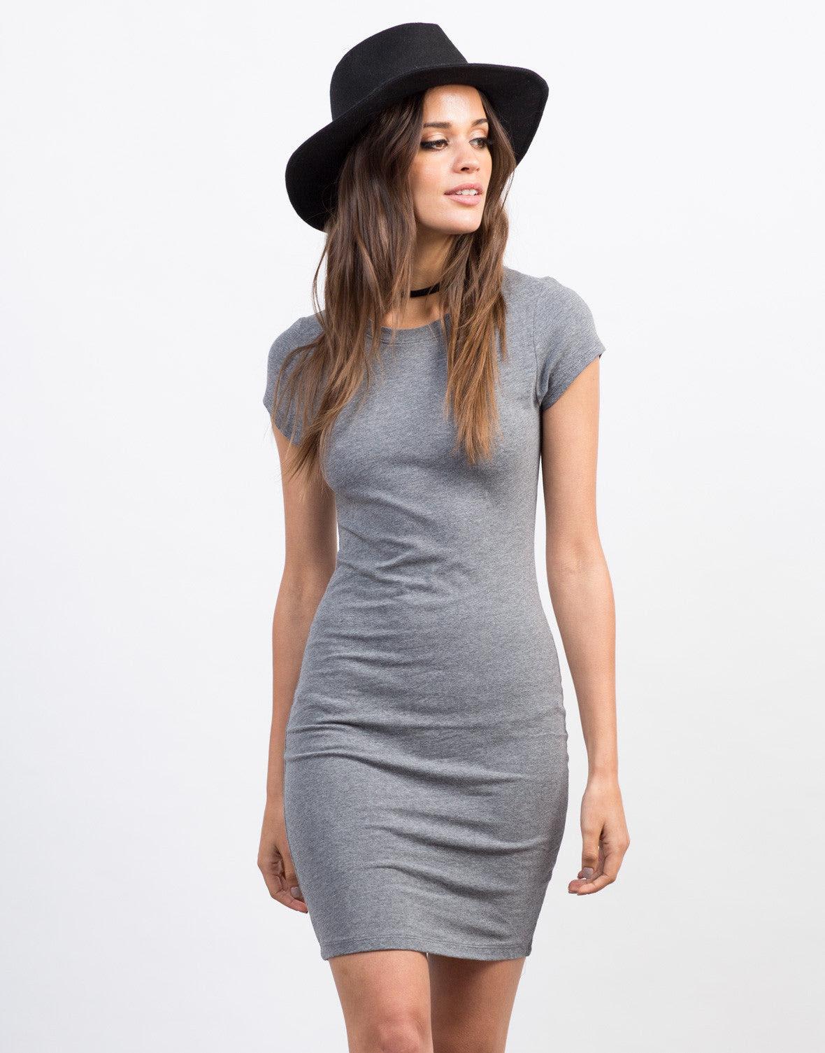bodycon t shirt dress gray front