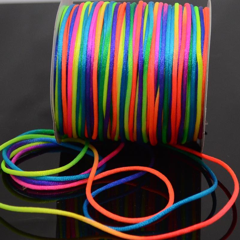 75521664-08 Rattail Cord - 2 mm Satin Rattail Cord - Rainbow (yard)