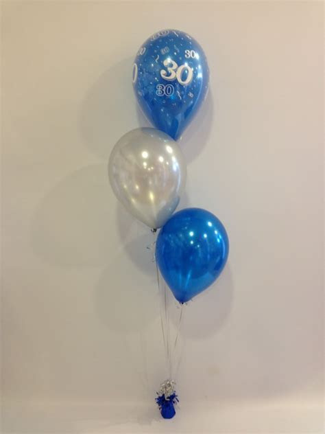 Age 30 Sapphire Blue and Silver 3 Latex Staggered Balloon
