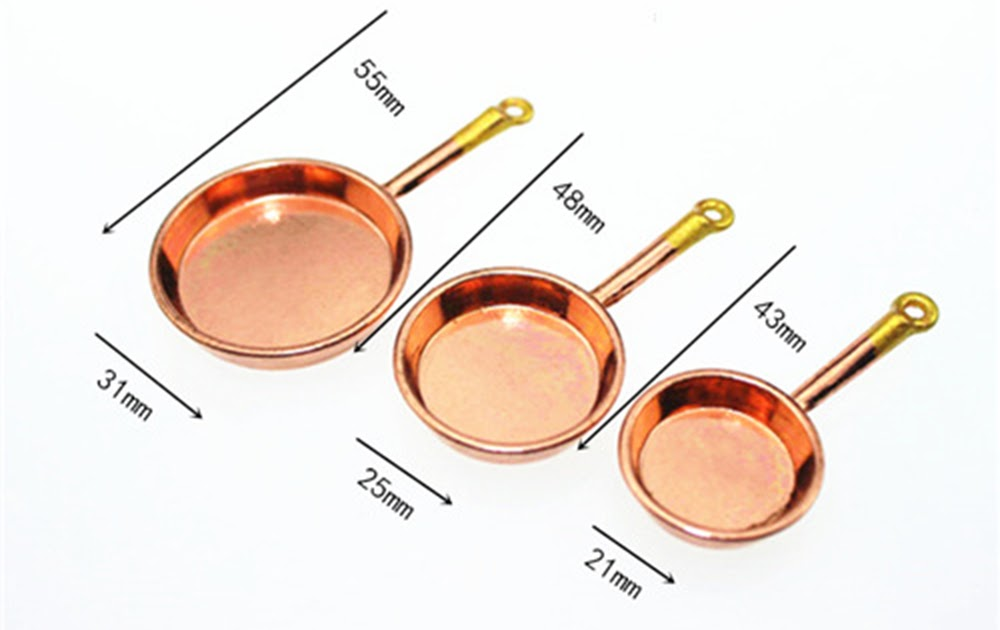 3pcs 1:12 DollHouse Miniature Cups Pot Set Home Mini Decoration  Furniture Toys