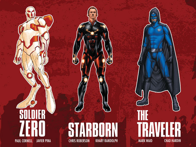 Stan Lee and the creators of upcoming comic book series Soldier Zero, Starborn and The Traveler show off their new superheroes at Comic-Con.