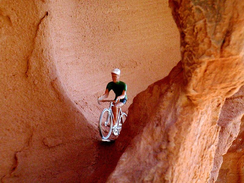 Riding eroding sandstone