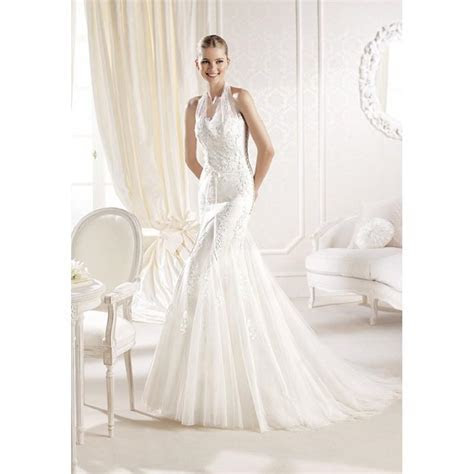 Fit N Flare Halter Lace & Tulle Floor Length Chapel Train