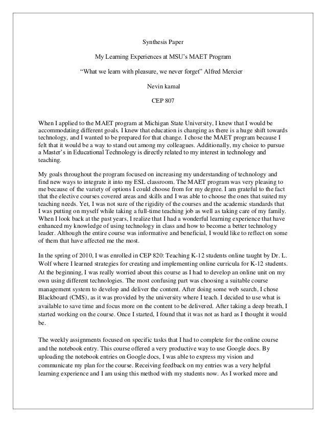 how to write a synthesis essay united states