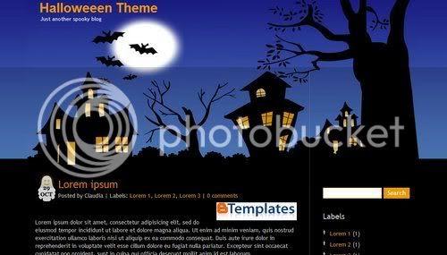 Blogger Blue Black Halloween Template