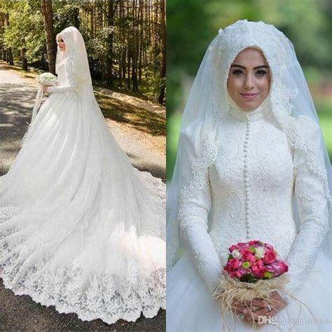 Muslim Wedding Dresses 2016 Latest Full Lace High Neck