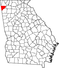 Map of Georgia highlighting Chattooga County