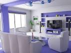 White and Purple Living Room Design | Deniz Home