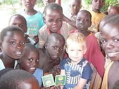 Ben playing the matching game with Layibi kids