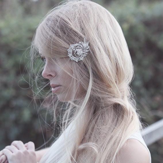 Gretta - vintage bridal hair comb silver rhinestone, bridal hair accessory, crystal bridal hair accessory, wedding hair accessory