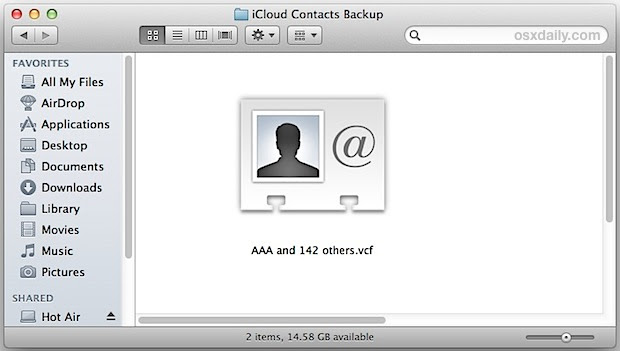 The exported iPhone contacts file in VCF format