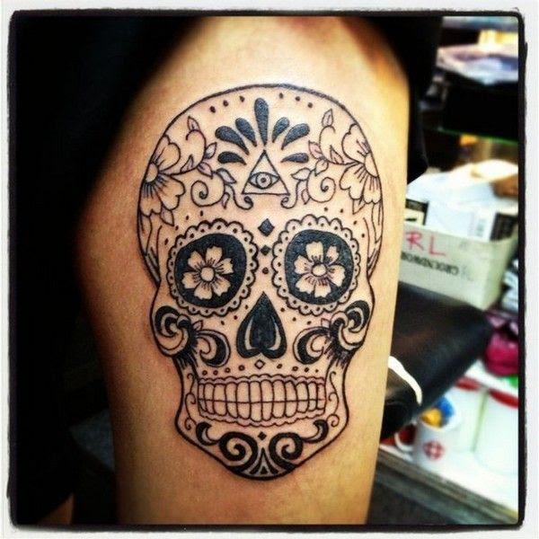 Owl And Sugar Skull Tattoo On Sleeve