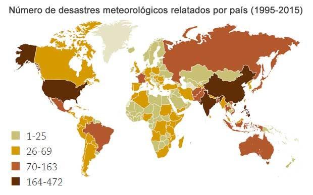 Mapa mostra distribuição de desastres meteorológicos no planeta (Foto: UNISDR)