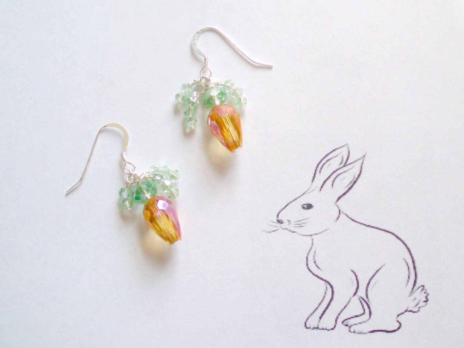 Easter Bunny's Carrot Earrings - crystal earrings - Easter jewelry