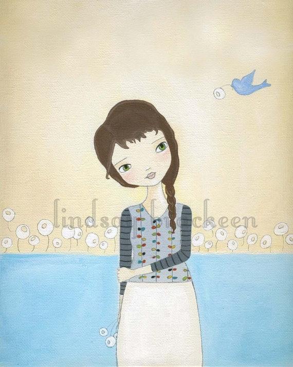 Blue Bird Flower Girl Art Print