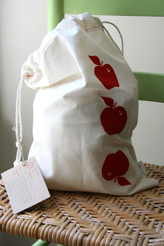 Farmer's Market Produce Bag. Set of TWO. Three Red Apples. Hand screen-printed and handmade.