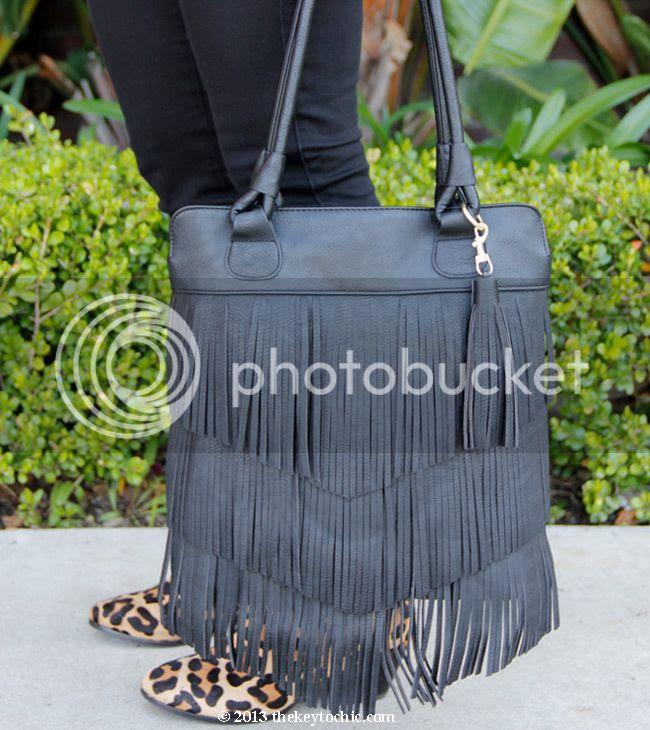 Mossimo black fringe handbag, Topshop Ava leopard print ankle boots