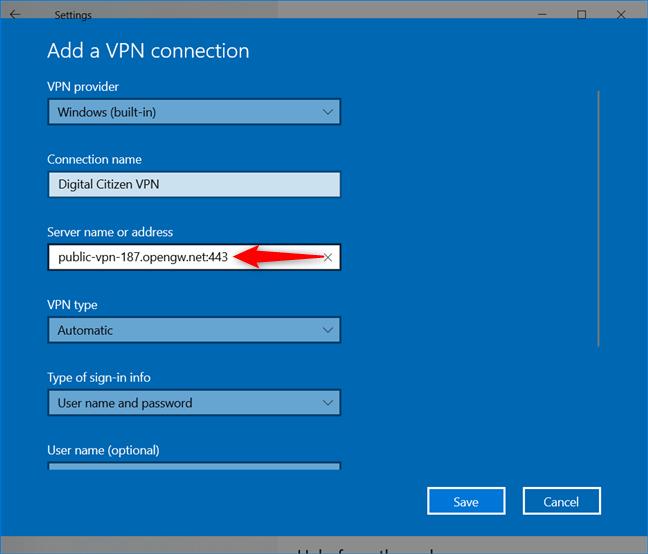 Agregar una conexión VPN: ingrese el nombre o la dirección del servidor