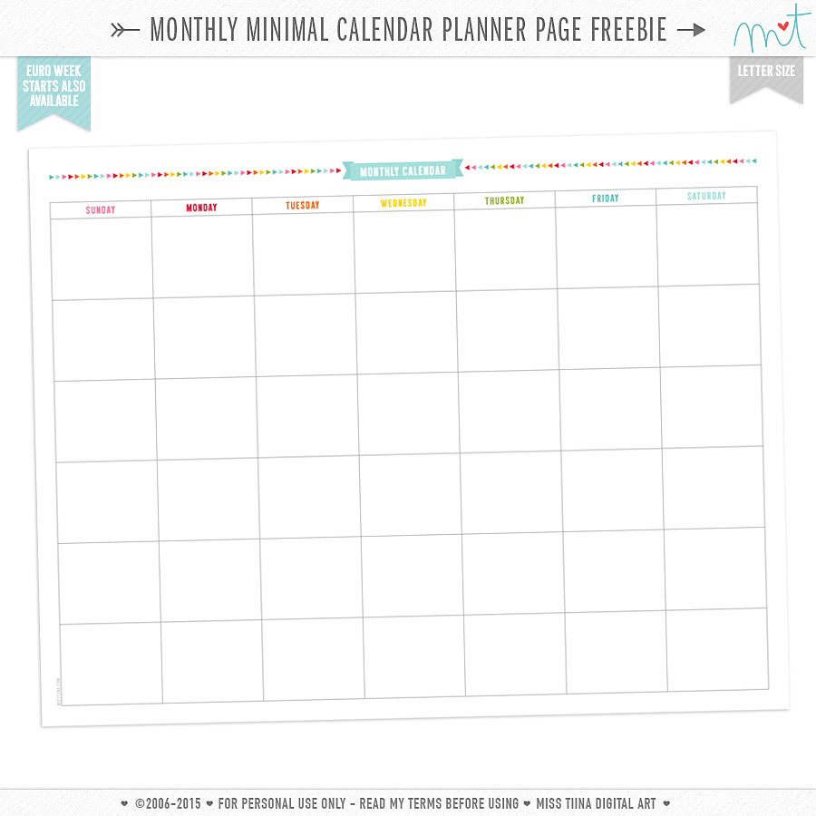 Printable monthly planner
