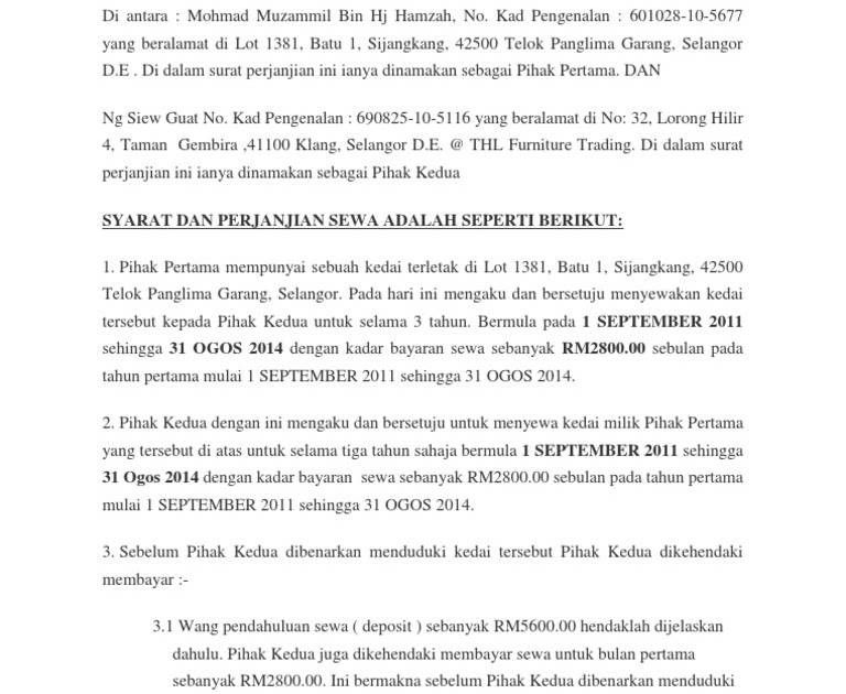 Surat Rasmi Permohonan Sewa Kedai Selangor D