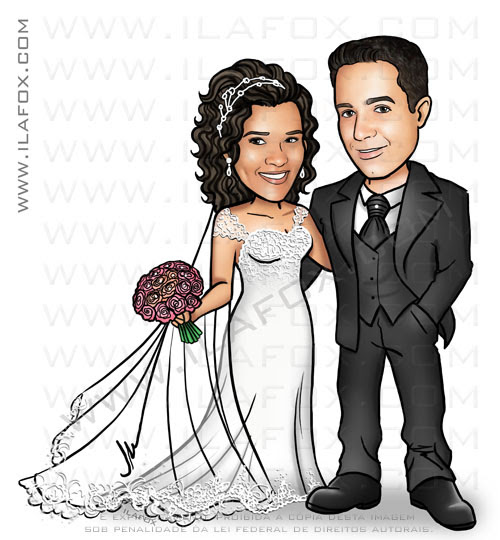 caricatura casamento, caricatura noivinhos, caricatura casal, by ila fox