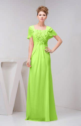 Sharp Green with Sleeves Bridesmaid Dress Chiffon Fall