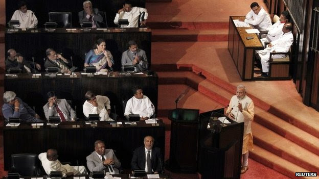 Narendra Modi addresses Sri Lanka's parliament in Colombo, 13 March
