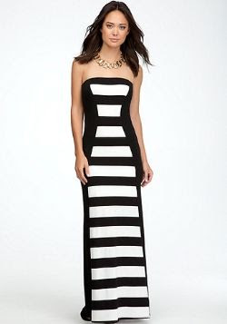 Bebe Rugby Strip Maxi Dress