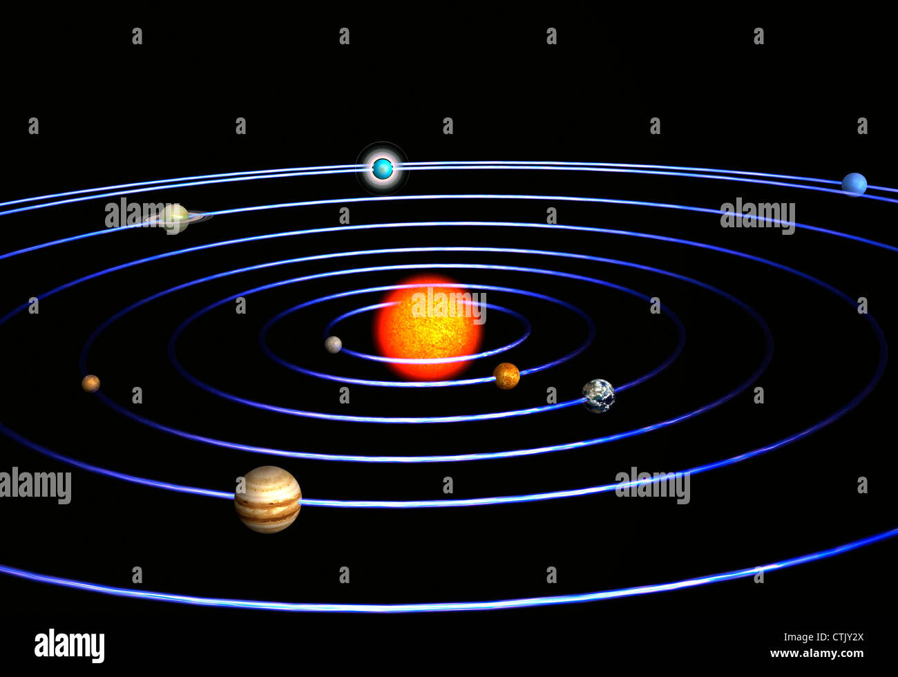 solar system with the sun in the center and the planets mercury venus CTJY2X
