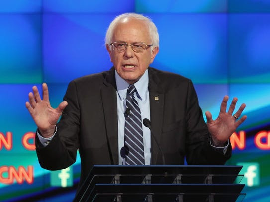 Sen. Bernie Sanders speaks at the CNN debate in Las