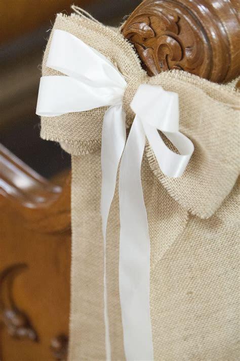 Burlap pew bows   My Wedding   Pinterest