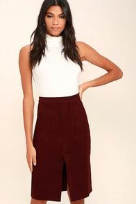 JOA Jolene Burgundy Pencil Skirt