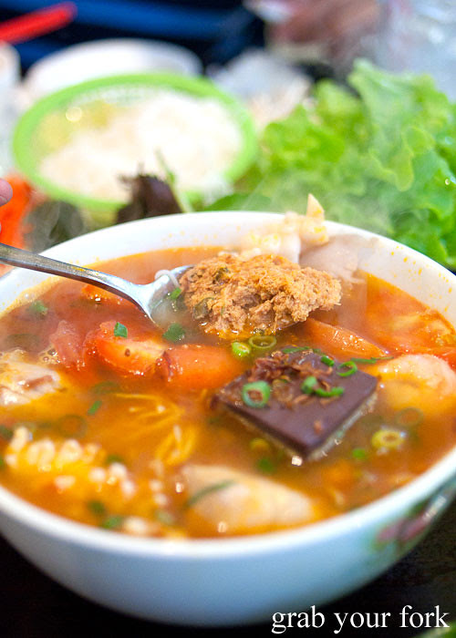 Bun Rieu crab and tomato noodle soup at Hai Au Lang Nuong Canley Vale