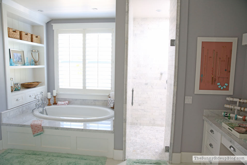 White Master Bathroom (ready for Spring!) - The Sunny Side ...