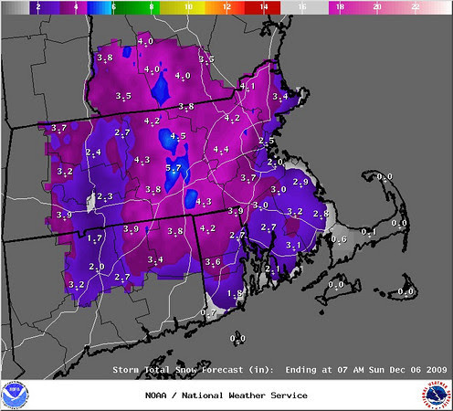 predicted snowfall map