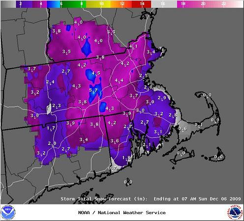 predicted snowfall map