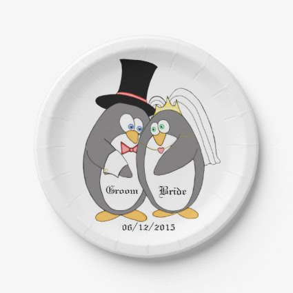 Penguin Love Personalized Wedding Paper Plates 7 Inch Paper Plate
