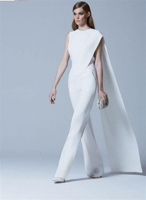 glam white jumpsuit  elie saab wedding attire