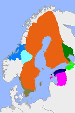 Ruotsi vuonna 1658. Stolbovan rauhassa Ruotsi sai Venäjältä vaaleanvihreällä merkityn Inkerin ja tummanvihreällä merkityn Käkisalmen kihlakunnan.
