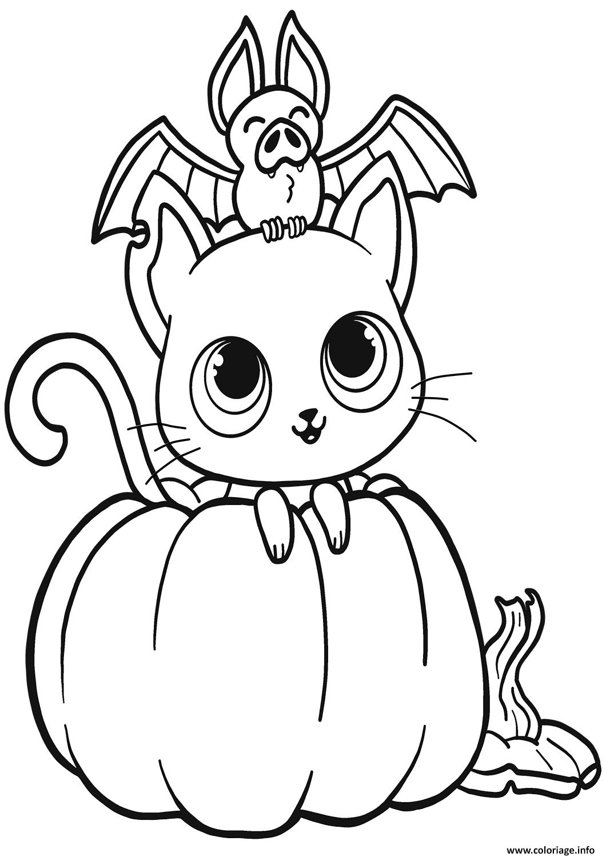 Coloriage Chauve Souris Chat Citrouille Halloween Jecoloriecom